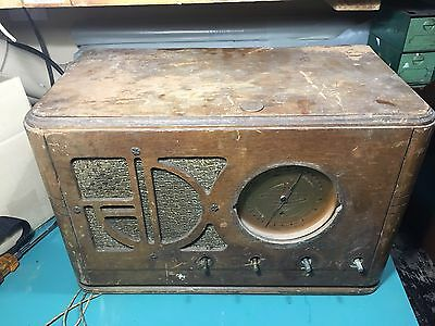 Silvertone tube radio franken 4463 project table set gold dial