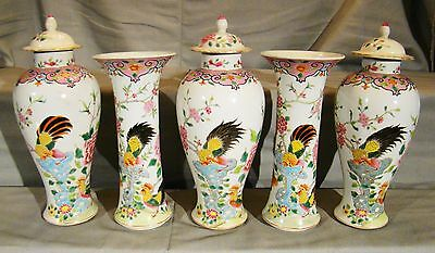 5 Pieces Qing Chinese Export Porcelain Famille Rose Rooster & Hen Garniture Set