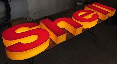 LIGHTED NEON SHELL LETTER SIGN original gas station canopy display BEAUTIFUL!
