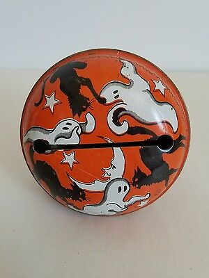 Rare Ghost & Cat Round Litho Tin Rattle Vintage - Halloween Antique Noise Maker