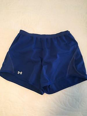 Women's Under Armor Lined Running Athletic Shorts Size M Blue