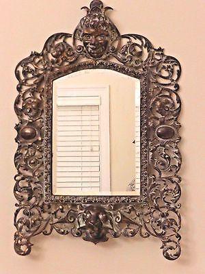 "ANTIQUE VINTAGE VICTORIAN BRASS FRAME WALL MIRROR 21"" H by 14.5"" W"
