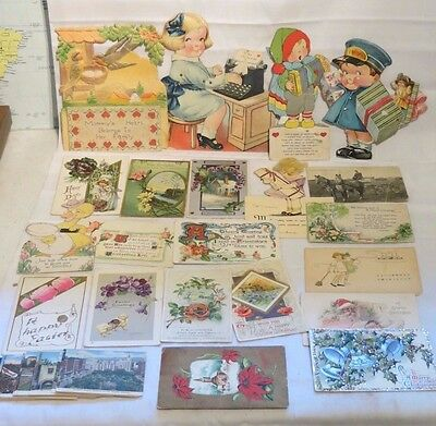 ANTIQUE LOT OF GREETING CARDS, POSTCARDS & AD CARD - 1908-1930's