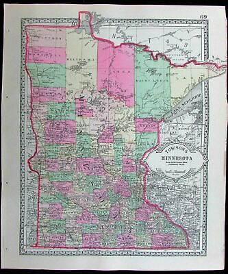 Minnesota Minneapolis St. Paul counties 1886 Tunison old antique color map