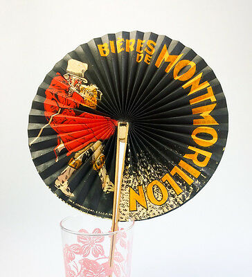 Vintage French BIERES DE MONTMORILLON Advertising Fan Art Deco Paris 1920s-30s