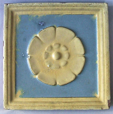 "Grueby Pardee Pottery 12"" Tile Arts & Crafts Floral Geometric Architectural"