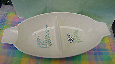 "Franciscan Fern Dell Divided Serving Dish California Art Pottery 12"" Long"