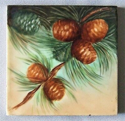 Antique Trent Tile China Painting Christmas Pine Cones Victorian Arts & Crafts