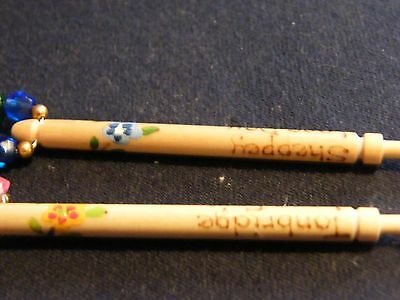 Pair of spangled wooden lace bobbins 2003 Sheppey lace day, 2006 Tonbridge lace