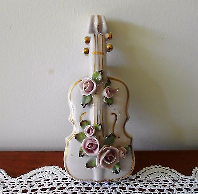 VINTAGE PINK PORCELAIN VIOLIN WALL POCKET VASE WITH APPLIED ROSES C1950s