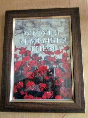 Poppy picture on metal plate housed in wooden frame