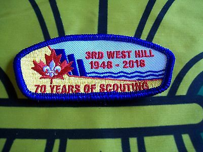 Canadian Scout badge/patch 3rd West Hill 70 Years Of Scouting