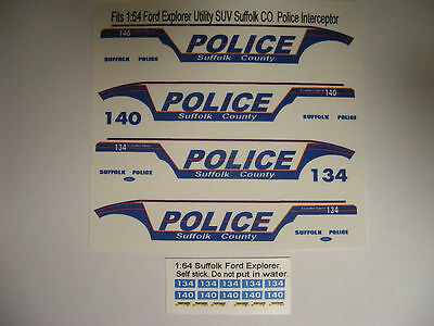 Suffolk Co Police 1/64 Waterslide Decal Sheet Set Fits Ford Explorer Utility