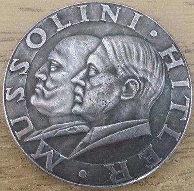 mussolini and hitler coin BERLIN ROM 1937