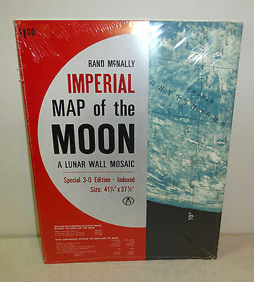"Rand McNally ""Imperial Map of the Moon: A Lunar Wall Mosaic"" 1968 NEW"