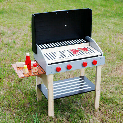 New KIDS WOODEN Pretend Play Toy BBQ Set Cooking Set Play Food