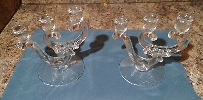 Pair Of Vintage Victorian Or Depression Glass Candleholders
