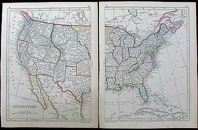 United States Territorial west c.1852 old antique maps 2 sheets color