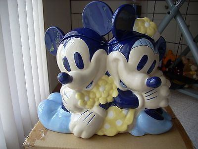 Disney Rare Blue Mickey And Minnie Mouse Cookie Jar Ceramic Collectible Large