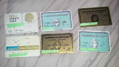 Lot of 6 Vintage Credit Cards –4 American Express,Shell CC,Montgomery Wards