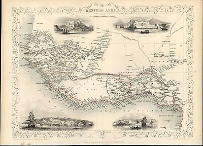 West Africa Sierra Leone Cape Coast Castle Mt Kong c.1850 old antique Tallis map