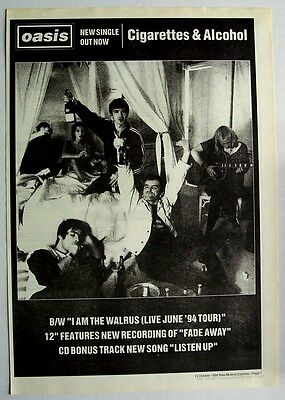 OASIS 1994 Poster Ad CIGARETTES & ALCOHOL
