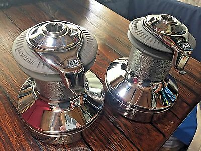 Pr Of Lightly Used Lewmar 44Cst Self Tailing 2 Speed Winches Chromed Bronze Drum