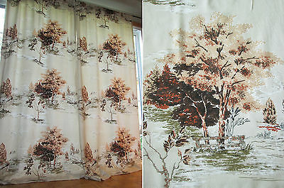 """Vtg 50s Mid Century Country Cottage Pictorial Scene Barkcloth Era Curtains 89"""""""