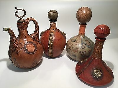 Lot of 4,Vintage Italian Leather Covered Wine Bottle Decanters