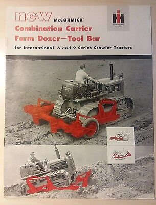 International Harvester McCormick Combination Carrier Farm Dozer Tool Bar Sales