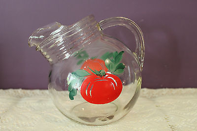 ANCHOR HOCKING GLASS RED TOMATO JUICE TILT PITCHER 1950's