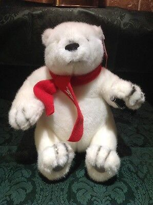 Official COCA COLA Plush Teddy Bear with Red Scarf and Bottle From Beverly Hills