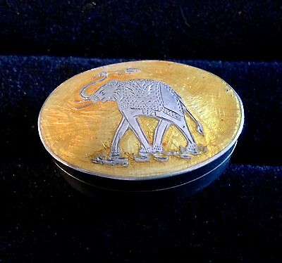 Sterling Silver Enamel Guilloche Elephant Box Snuff Pill Ring Yellow Hinged