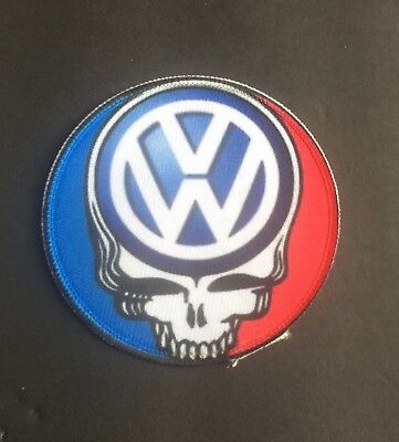 8 inch Volkswagon Bus Grateful Dead Steal Your Face Patch Iron On Custom Patch