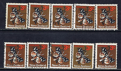New Zealand #536(2) 1973 3 cent LICHEN MOTH 10 Used