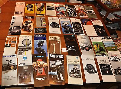 Super Large Lot of Vintage Camera Brochures Olympus, Minolta, Canon, Nikon