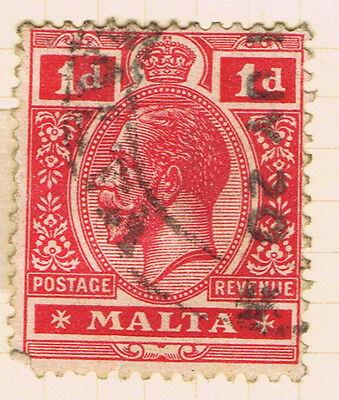 Malta #51a(1) 1914 1 pence carmine King George V Used