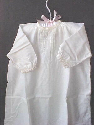 Vintage Baby Dress Hand Made Long Tatted Trim Front Tucks Fancy Stitches