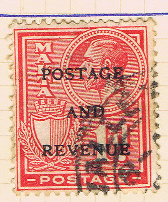 Malta #150(1) 1928 1 pence red King George V Surcharged Postage And Revenue