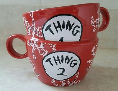 Thing 1 Thing 2 Red 2 Handle Stack Coffee Mug Universal Dr. Suess Cat in the Hat