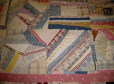 "VTG/Antique Crazy/Patchwork Hand Sewn/Stitched Quilt 77"" X 64"" Multi colored!"
