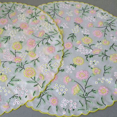 2 Vintage ORGANDY Hand Embroidered CENTERPIECE Mats Appliqued Colorful FLOWERS