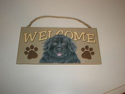 New Newfoundland Newfie Dog Wood Hanging Welcome Sign Cute!