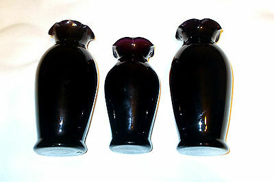"Lot Of 3 Deep Purple Amethyst Glass Bud Vases Crimped Scalloped 5 1/4"" & 6 1/4"""