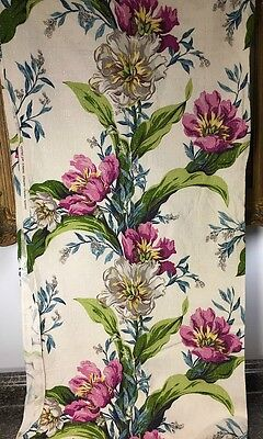 vintage Barkcloth Floral, Tulips, Tropical, Fabulous color, English Cottage 3yds