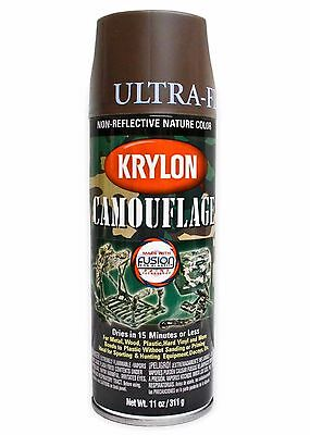 Krylon Fusion Plastic Paint 340gm - CAMOUFLAGE ULTRA FLAT BROWN - AUS Seller