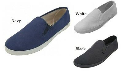 37fbedf0649 Mens Casual Canvas Slip On Boat Sneakers Black Gray Navy 8 9 10 11 12 13