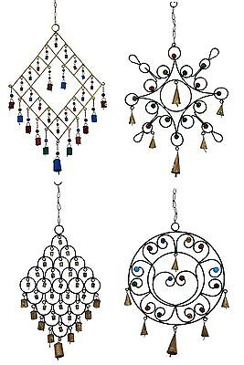 4 X Assorted Metal Wind Chimes Cow Bells/Glass Beads, Feng Shui, Hippy - Large