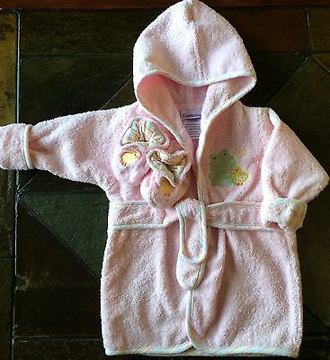 Girls Robe Size 0 - 9 Months Baby New Nwot Pink Terry Cloth Slippers bathrobe