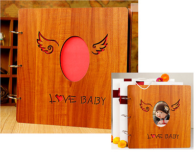 "DIY 26 x 26cm 30pages 3 Rings ""LOVE BABY"" Wood Cover Scrapbook album DIY Decor"